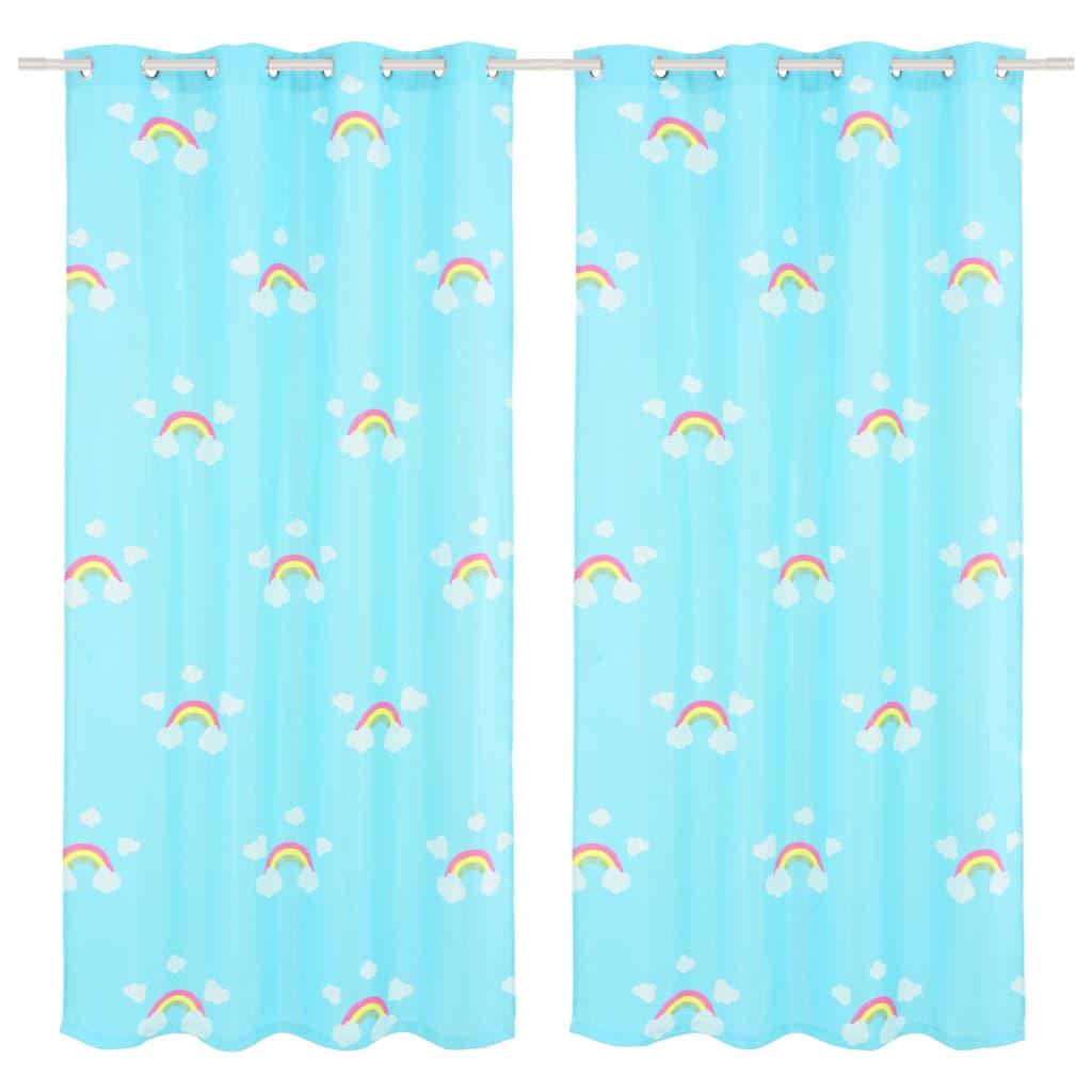 vidaXL Draperii opace copii, 2 buc., curcubeu, albastru, 140 x 240 cm