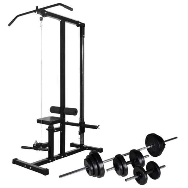vidaXL Turn de forță cu set de haltere & gantere 30,5 kg