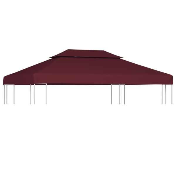vidaXL Acoperiș de pavilion, 2 niveluri, roșu bordo, 4 x 3 m, 310 g/m²