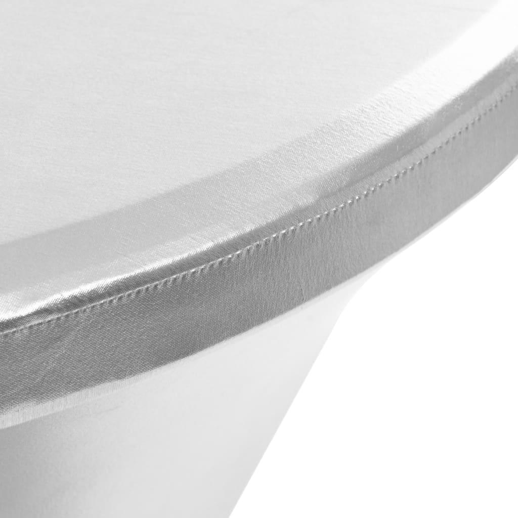 Huse elastice de masă, 2 buc., argintiu, 80 cm