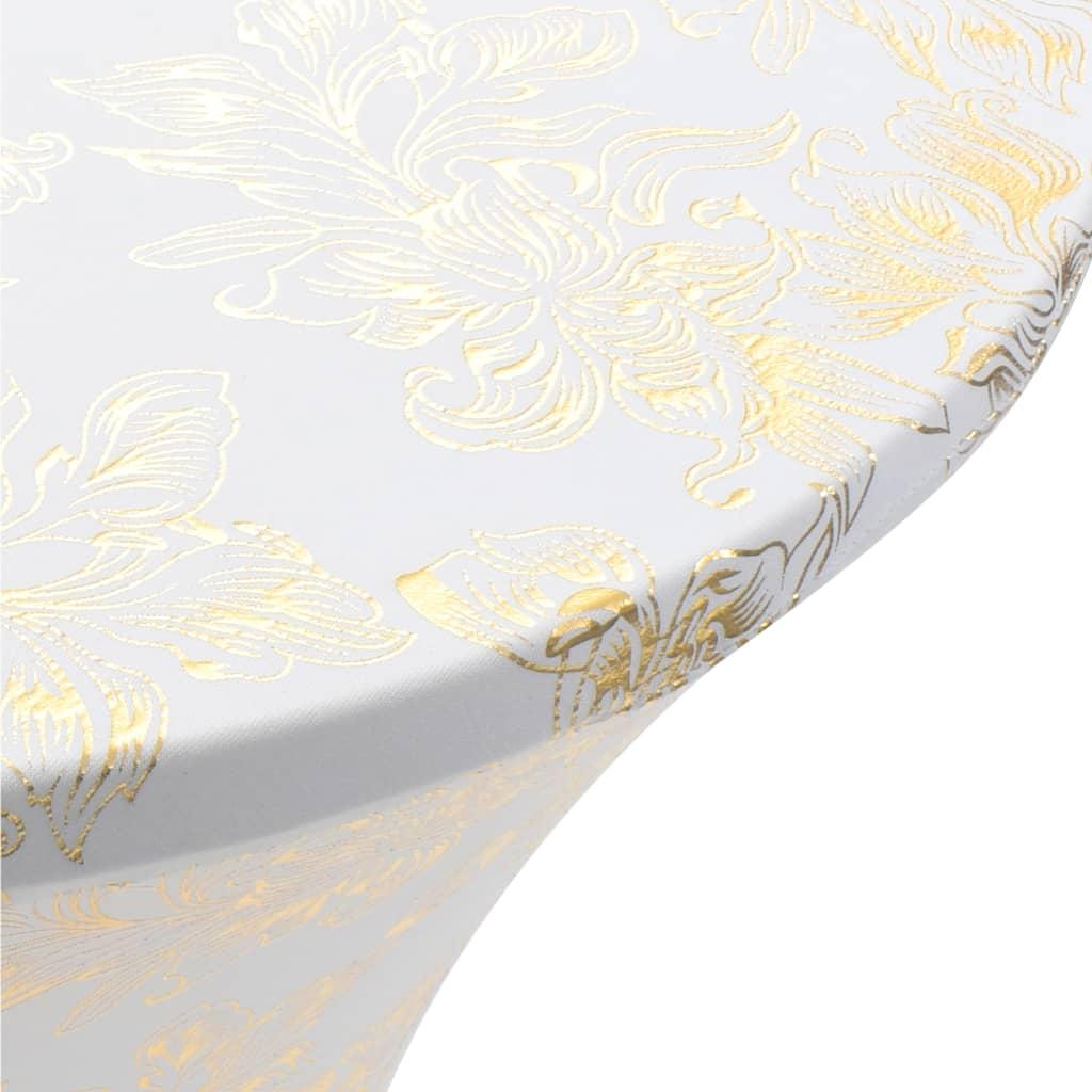 Huse elastice de masă, 2 buc., alb cu imprimeu auriu, 60 cm