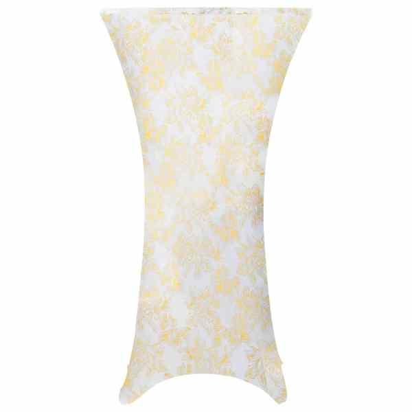 vidaXL Huse elastice de masă, 2 buc., alb cu imprimeu auriu, 70 cm
