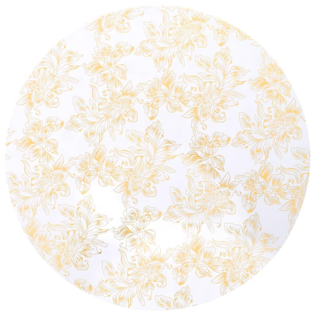 Huse elastice de masă, 2 buc., alb cu imprimeu auriu, 80cm