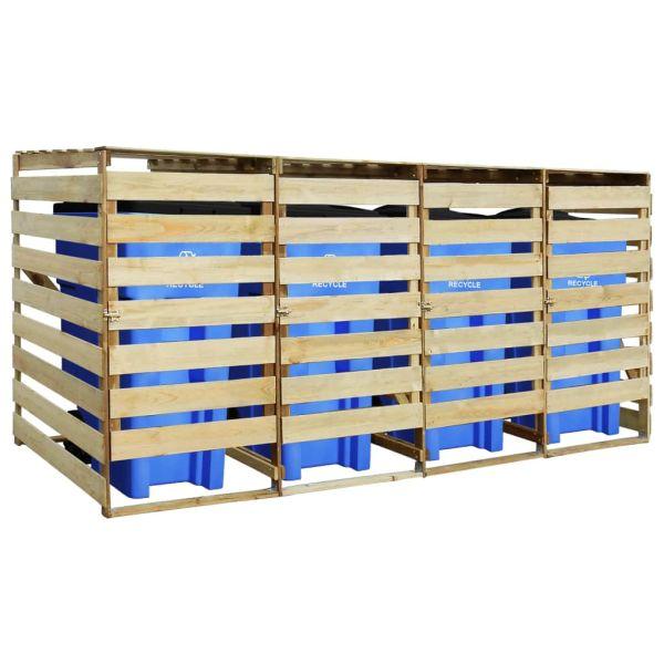 Magazie de pubele cvadruplă, 240 L, lemn de pin tratat