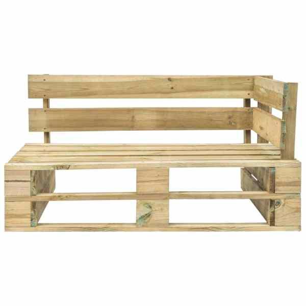 Bancă de colț pentru grădină din paleți, lemn