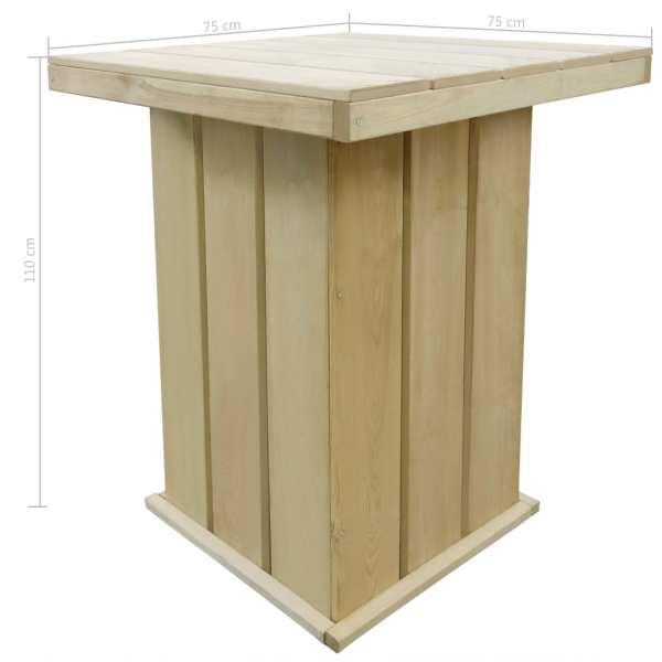 Masă de bar, 75 x 75 x 110 cm, lemn de pin tratat