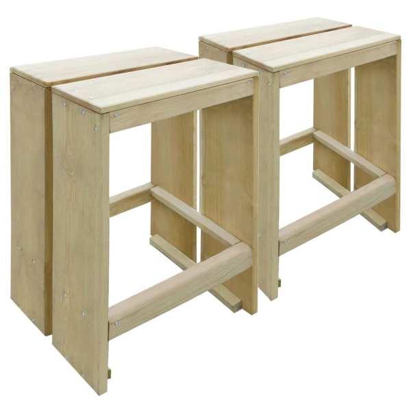 vidaXL Scaune de bar de exterior, 2 buc., lemn de pin tratat