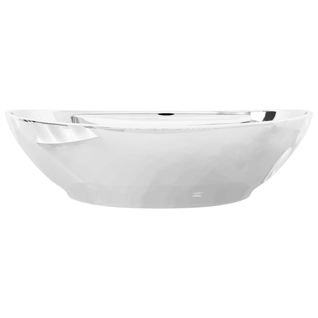 Chiuvetă cu preaplin, argintiu, 58,5 x 39 x 21 cm, ceramică