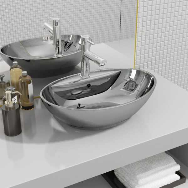 vidaXL Chiuvetă cu preaplin, argintiu, 58,5 x 39 x 21 cm, ceramică
