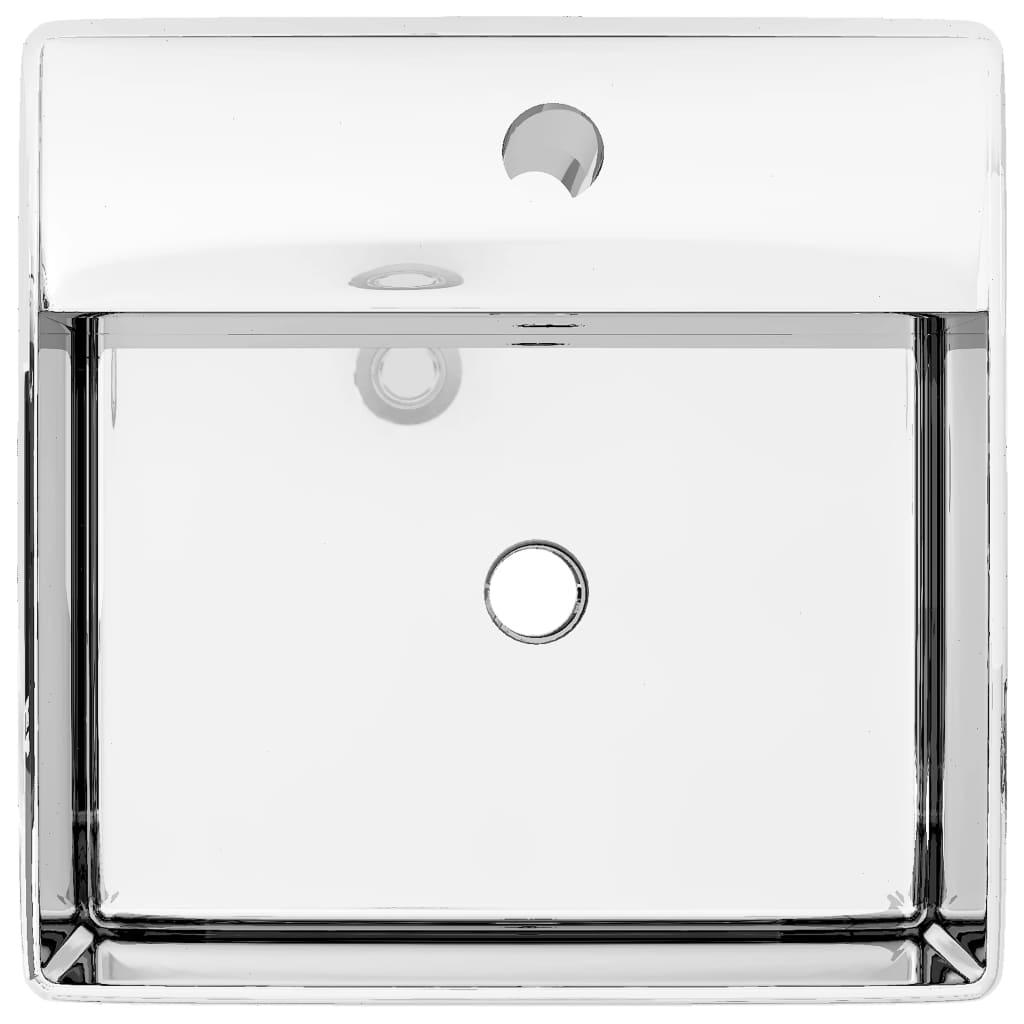 vidaXL Chiuvetă cu preaplin, argintiu, 41 x 41 x 15 cm, ceramică