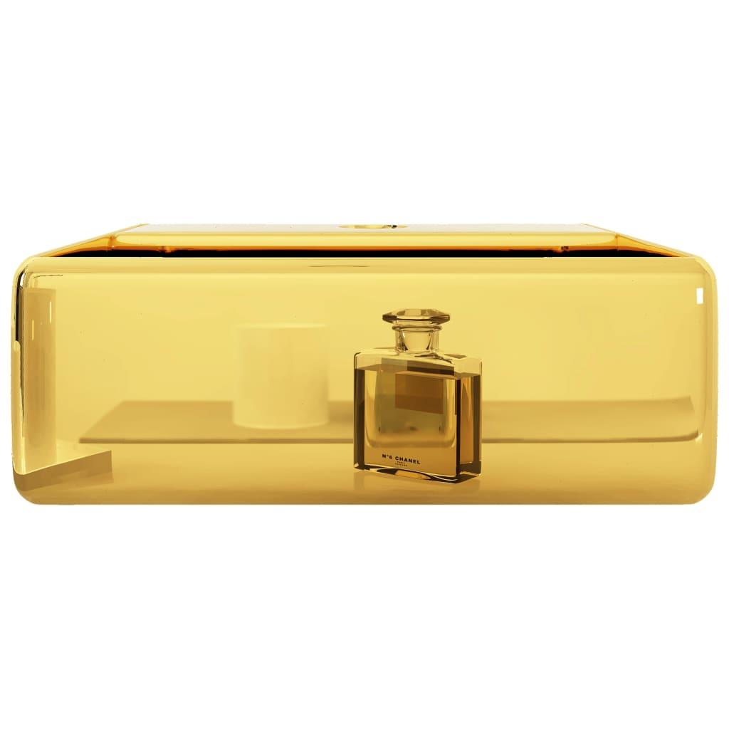Chiuvetă cu orificiu de robinet, auriu, 38x30x11,5 cm, ceramică