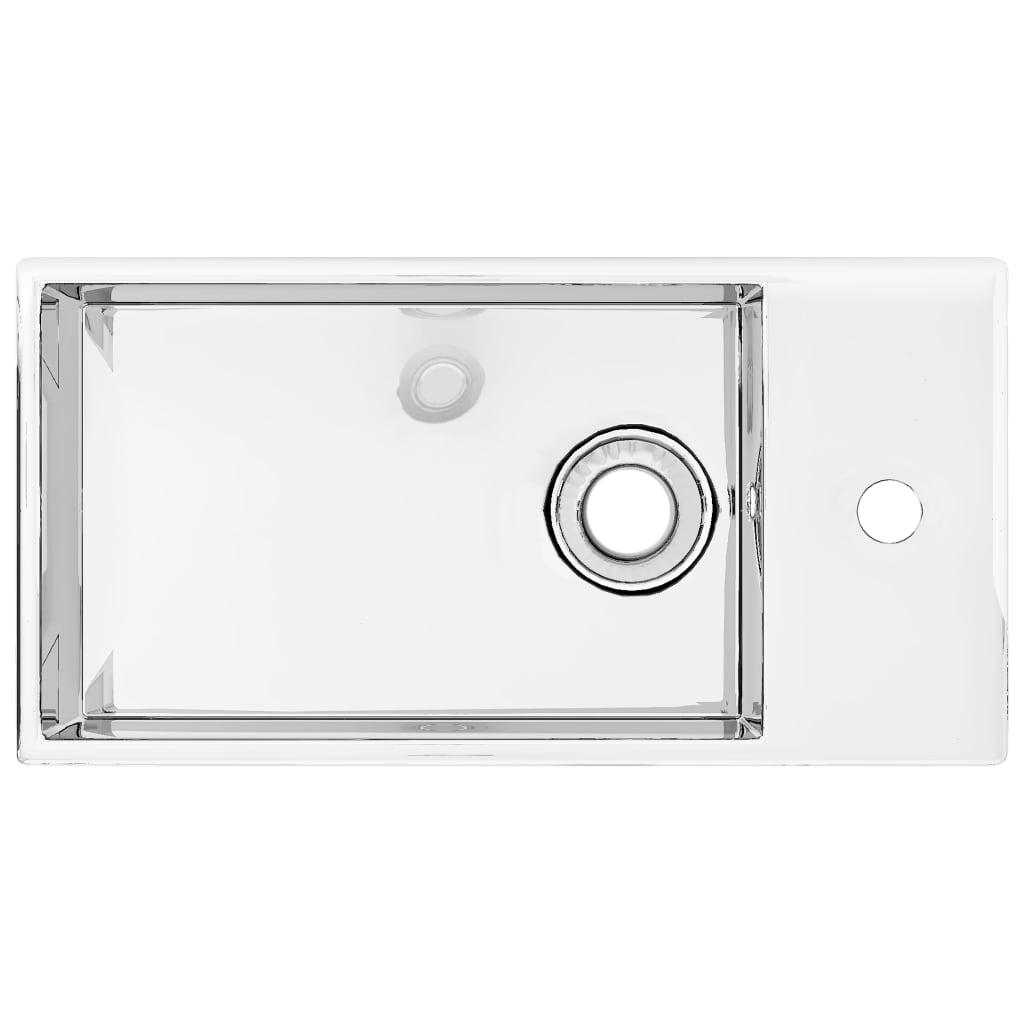 vidaXL Chiuvetă cu preaplin, argintiu, 49 x 25 x 15 cm, ceramică