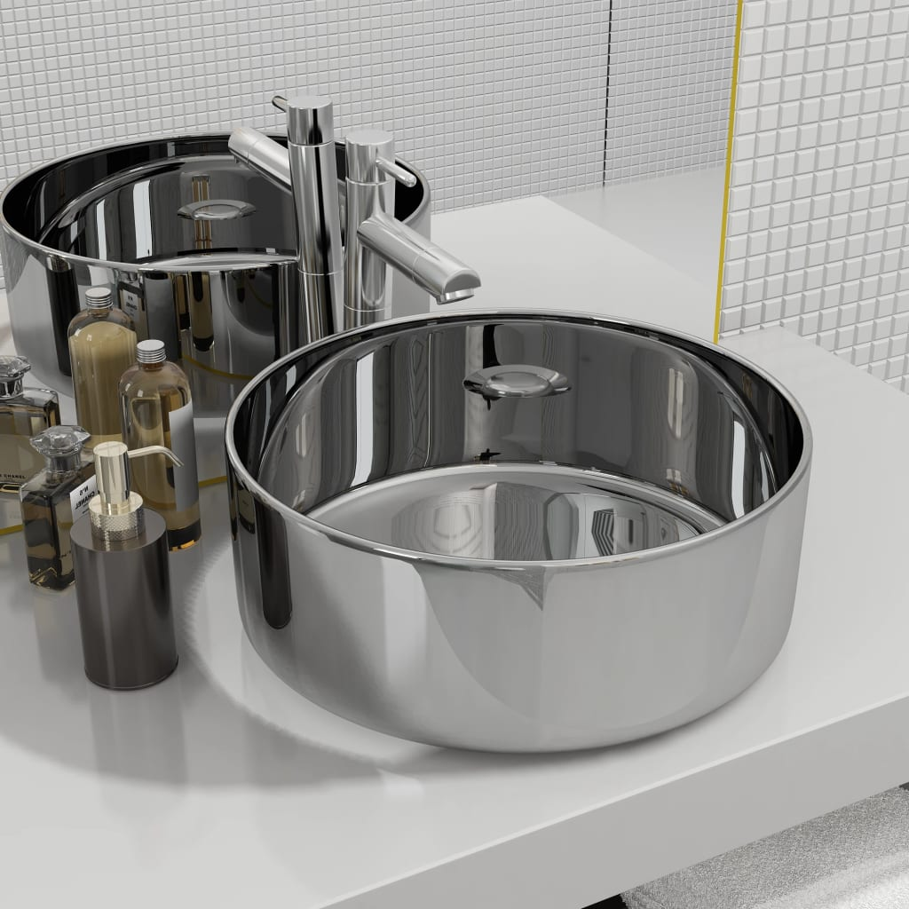 vidaXL Chiuvetă de baie, argintiu, 40 x 15 cm, ceramică