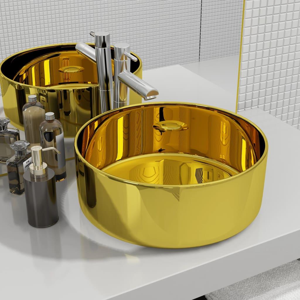 vidaXL Chiuvetă de baie, auriu, 40 x 15 cm, ceramică