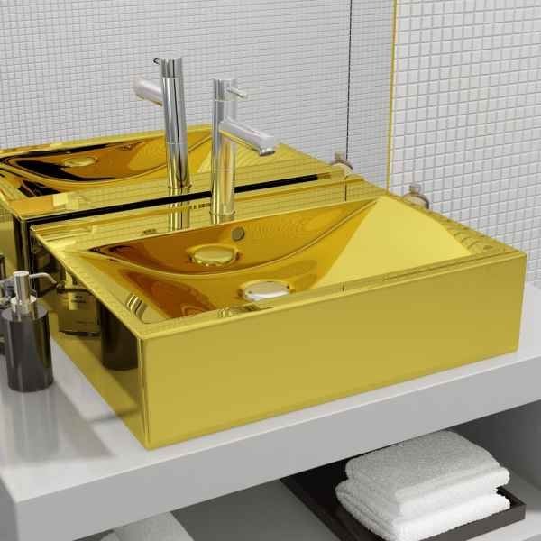 vidaXL Chiuvetă cu preaplin, auriu, 60x46x16 cm, ceramică