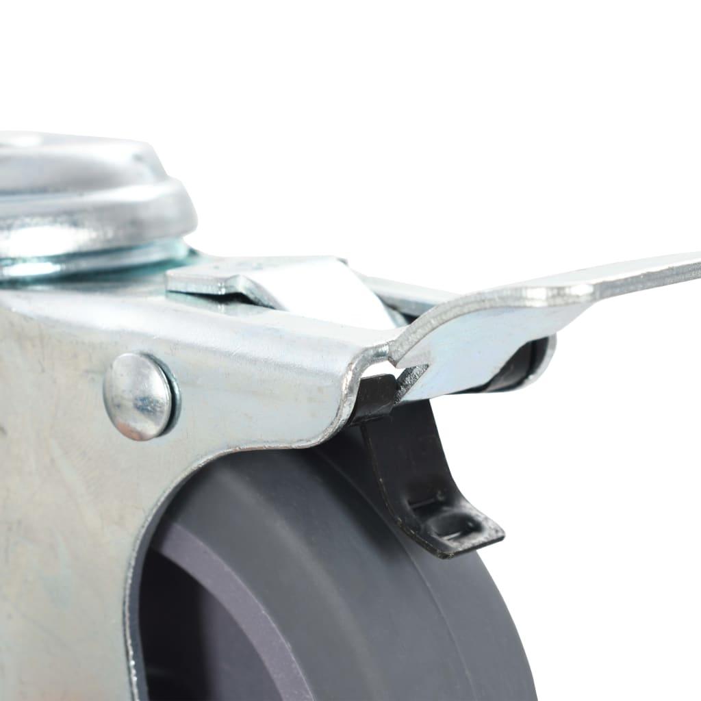 Roți pivotante cu gaură șurub, frâne duble, 4 buc., 75 mm