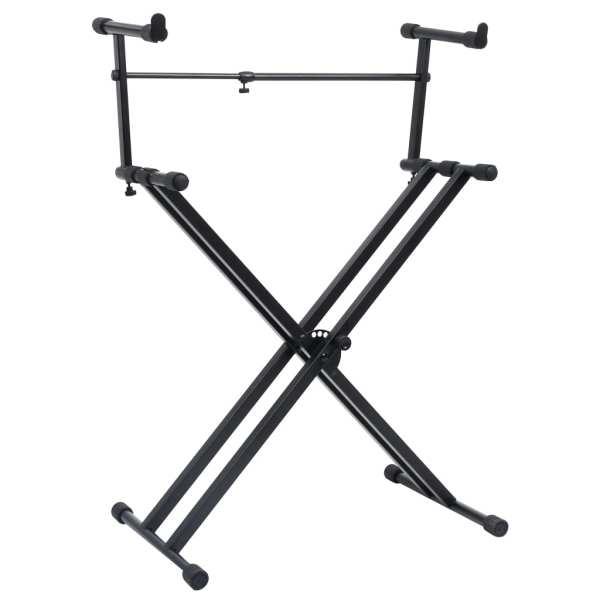 vidaXL Set suport dublu claviatură, cadru în formă de X, negru