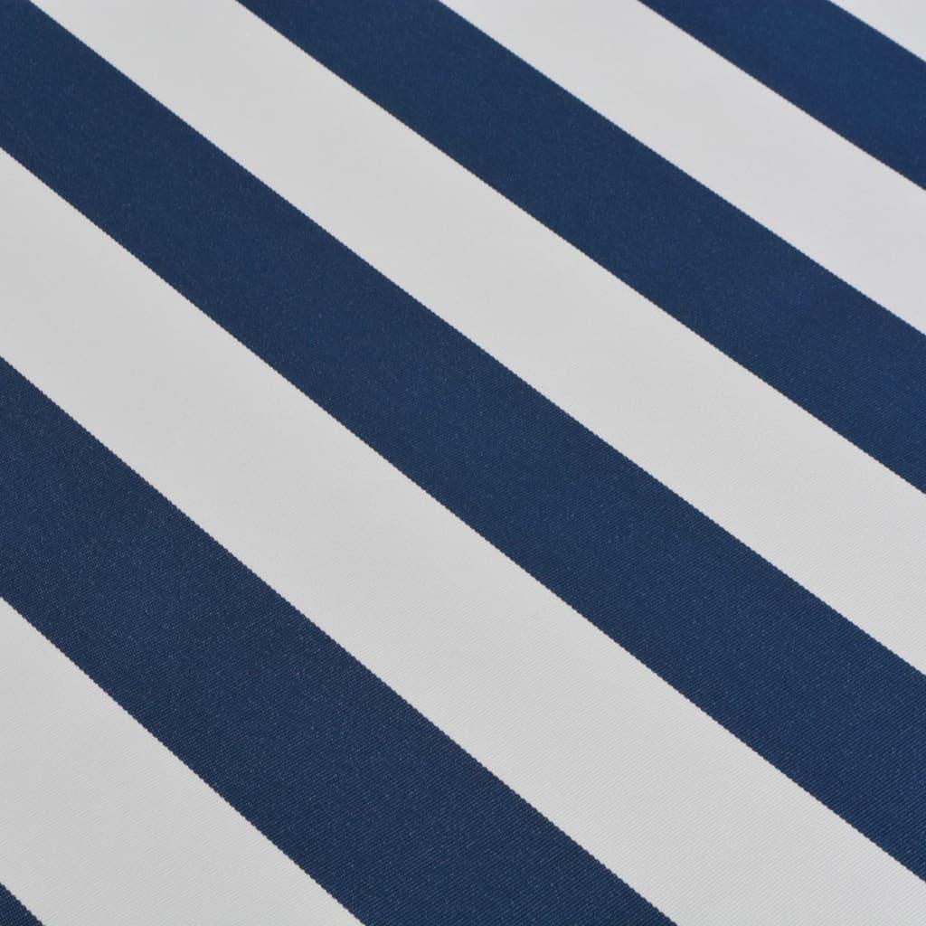 vidaXL Copertină pliabilă cu acționare manuală, albastru/alb, 400 cm