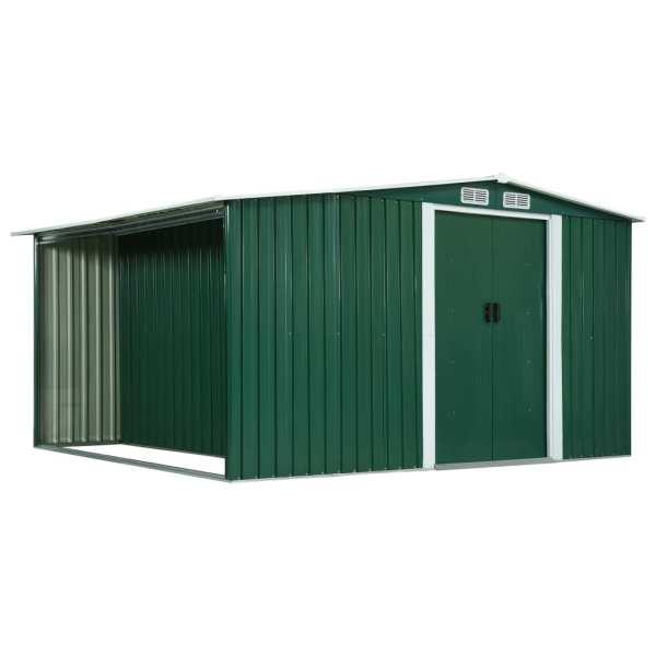 vidaXL Șopron de grădină cu uși glisante, verde 329,5x312x178cm, oțel