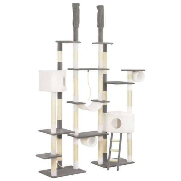 vidaXL Ansamblu pentru pisici cu stâlpi din funie sisal, gri, 234 cm