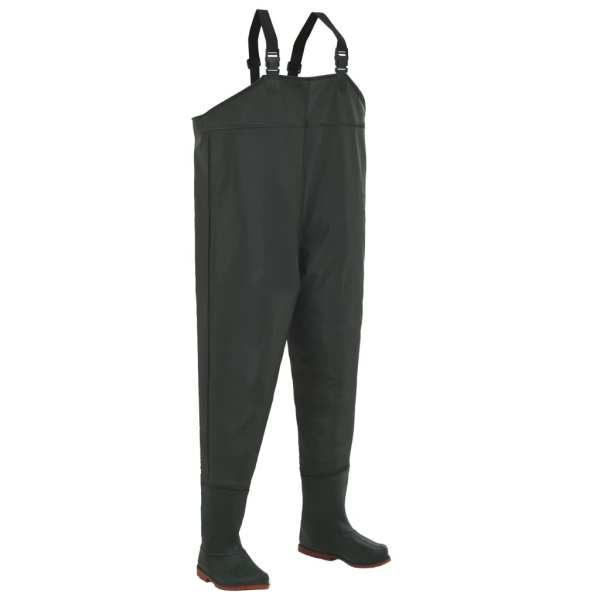 vidaXL Pantaloni de vânătoare cu cizme, verde, mărime 43