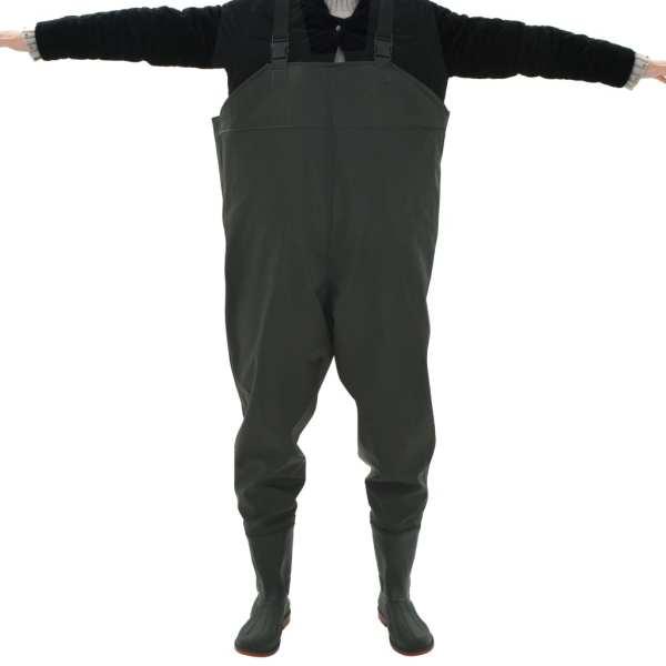 vidaXL Pantaloni de vânătoare cu cizme, verde, mărime 46