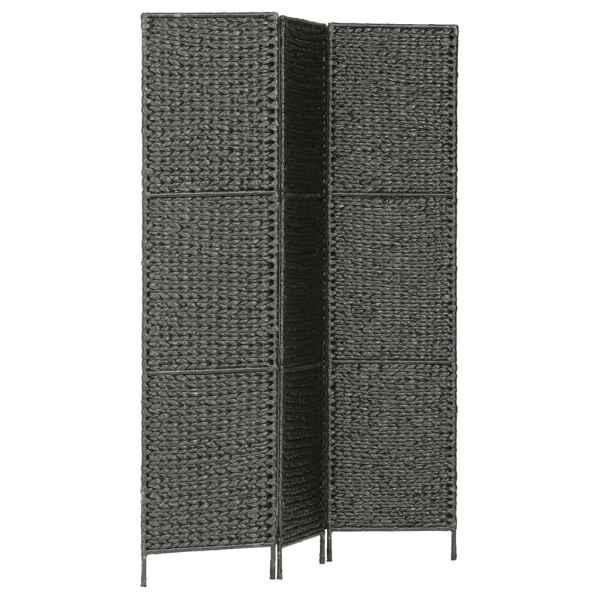 Paravan cameră cu 3 panouri, negru, 116×160 cm, zambilă de apă
