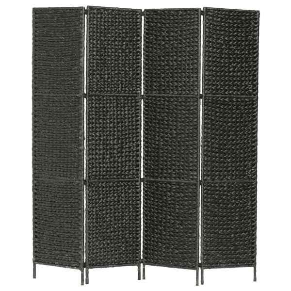 vidaXL Paravan cameră cu 4 panouri, negru, 154×160 cm, zambilă de apă