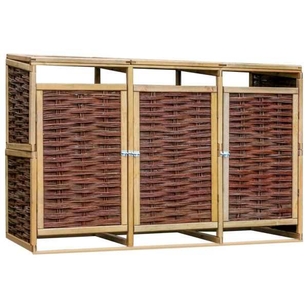 vidaXL Magazie triplă de pubele, lemn de pin și răchită