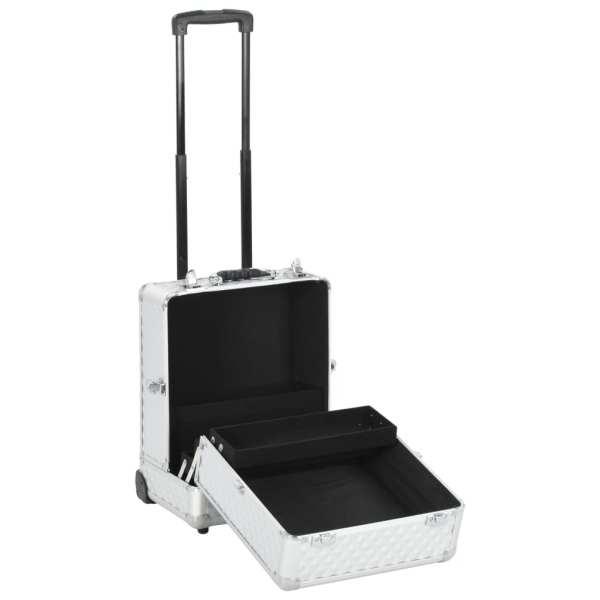 vidaXL Troler de cosmetice, argintiu, 35 x 29 x 45 cm, aluminiu