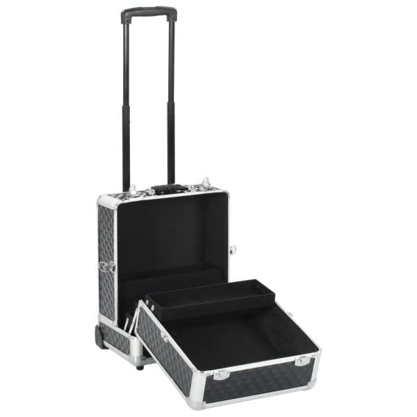 vidaXL Troler de cosmetice, negru, 35 x 29 x 45 cm, aluminiu