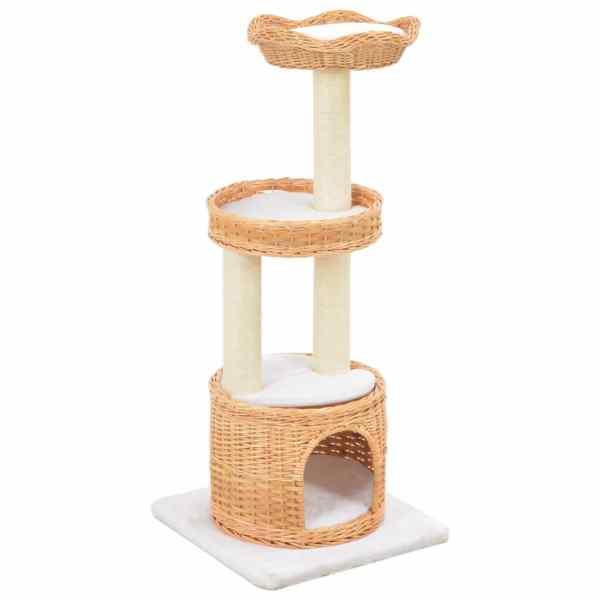 vidaXL Ansamblu pentru pisici cu stâlp funie sisal, lemn de salcie