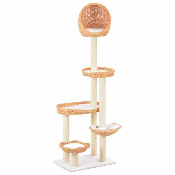 vidaXL Ansamblu pentru pisici cu stâlp din funie sisal, lemn de salcie