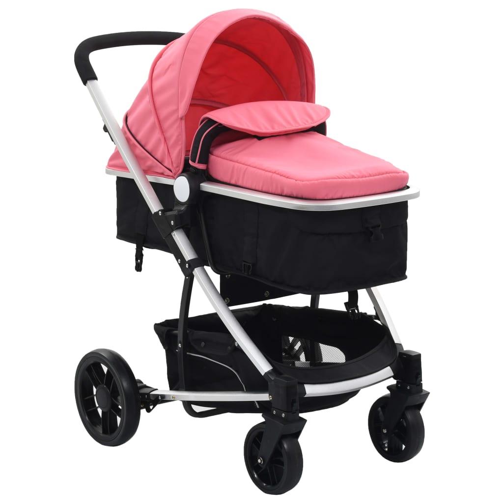 Căruț/landou pentru copii 2-în-1, roz și negru, aluminiu