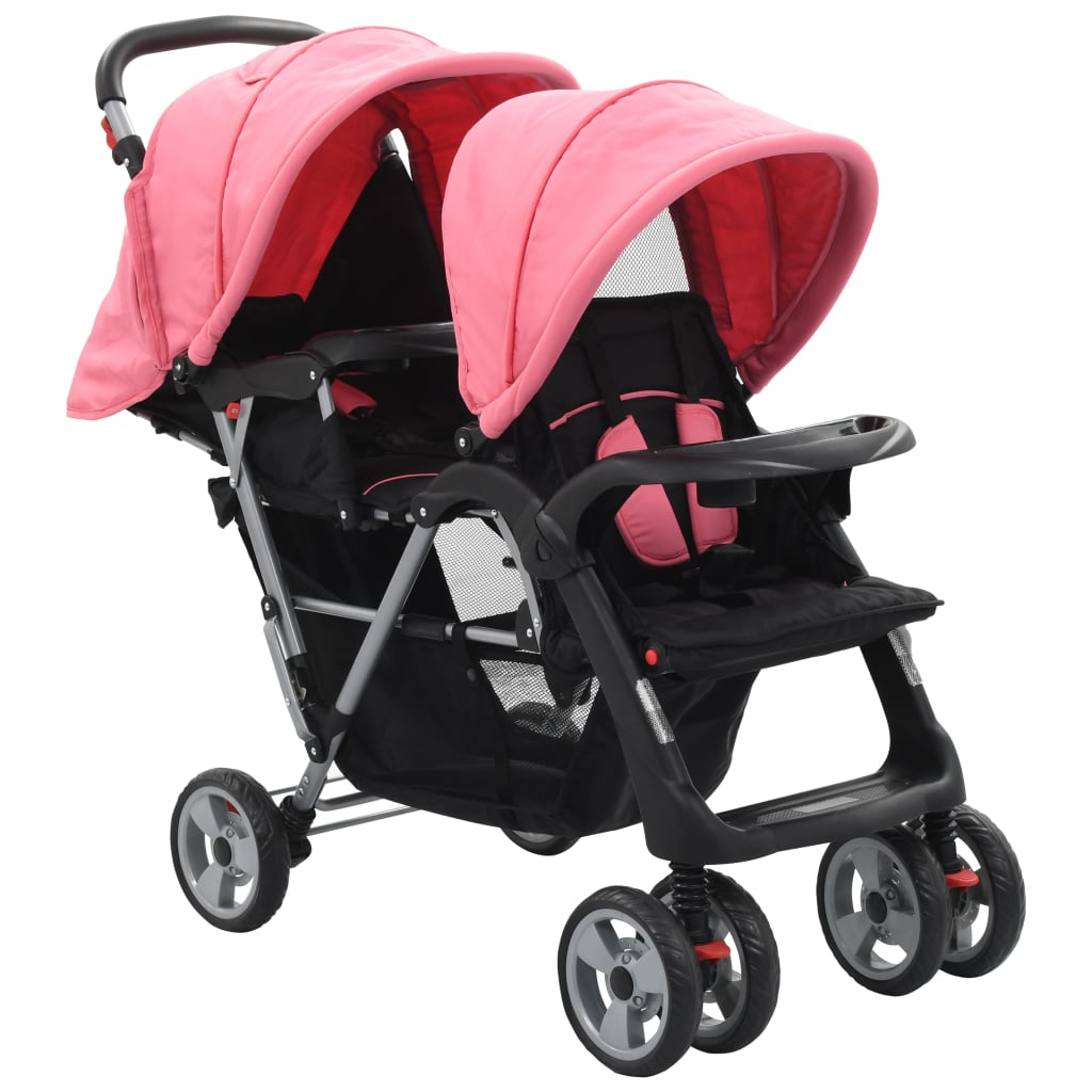 vidaXL Cărucior tandem pentru copii, roz și negru, oțel
