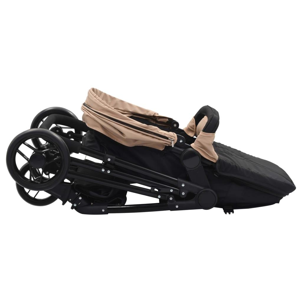 Căruț/landou pentru copii 2-în-1, gri taupe și negru, oțel