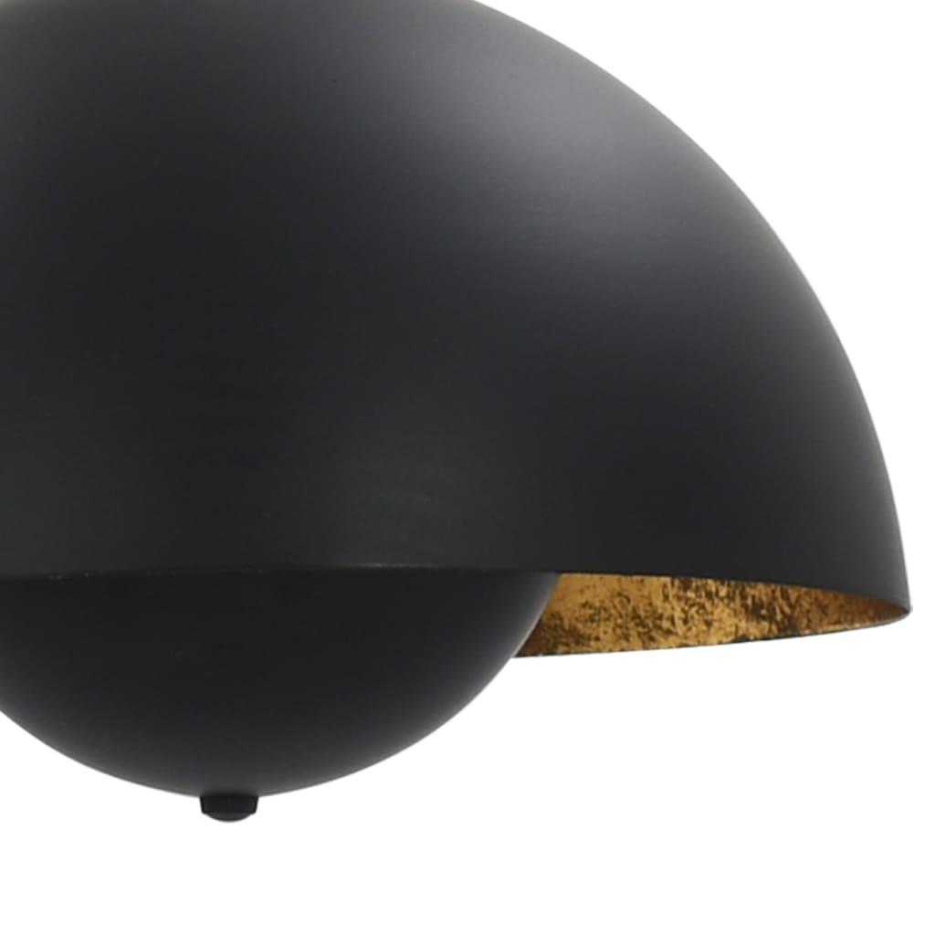 vidaXL Lustre, 2 buc., negru și auriu, semisferic, 30 cm, E27