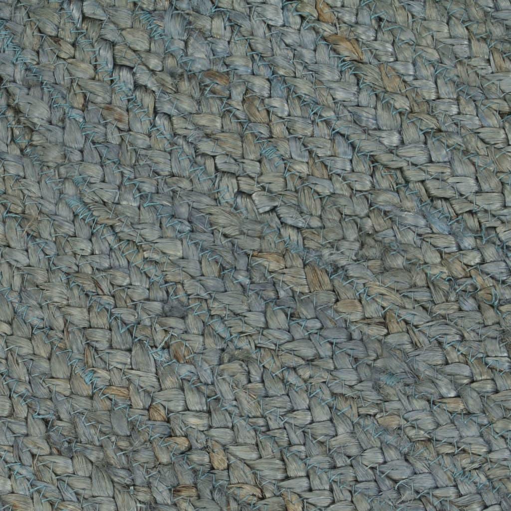 Covor manual, verde măsliniu, 90 cm, iută, rotund