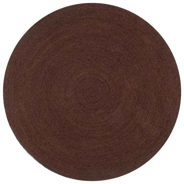 vidaXL Covor manual, maro, 90 cm, iută, rotund