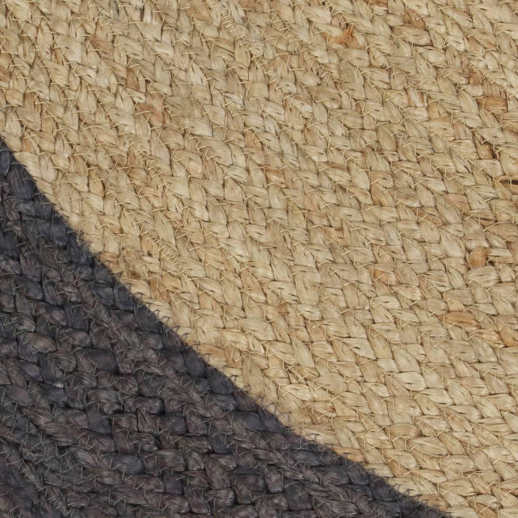 Covor manual cu margine gri închis, 120 cm, iută