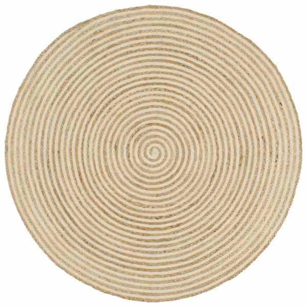 vidaXL Covor lucrat manual cu model spiralat, alb, 120 cm, iută