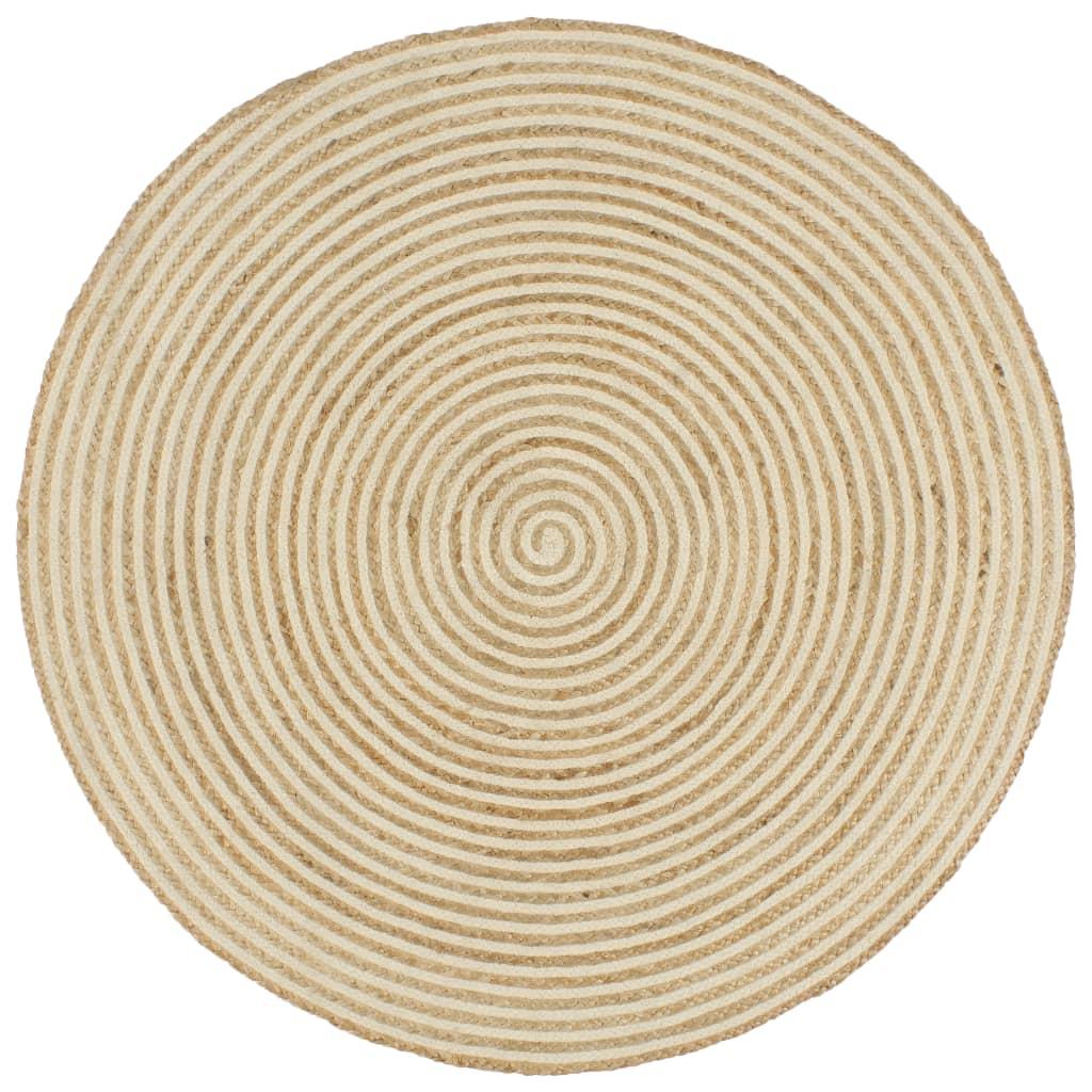 vidaXL Covor lucrat manual cu model spiralat, alb, 150 cm, iută