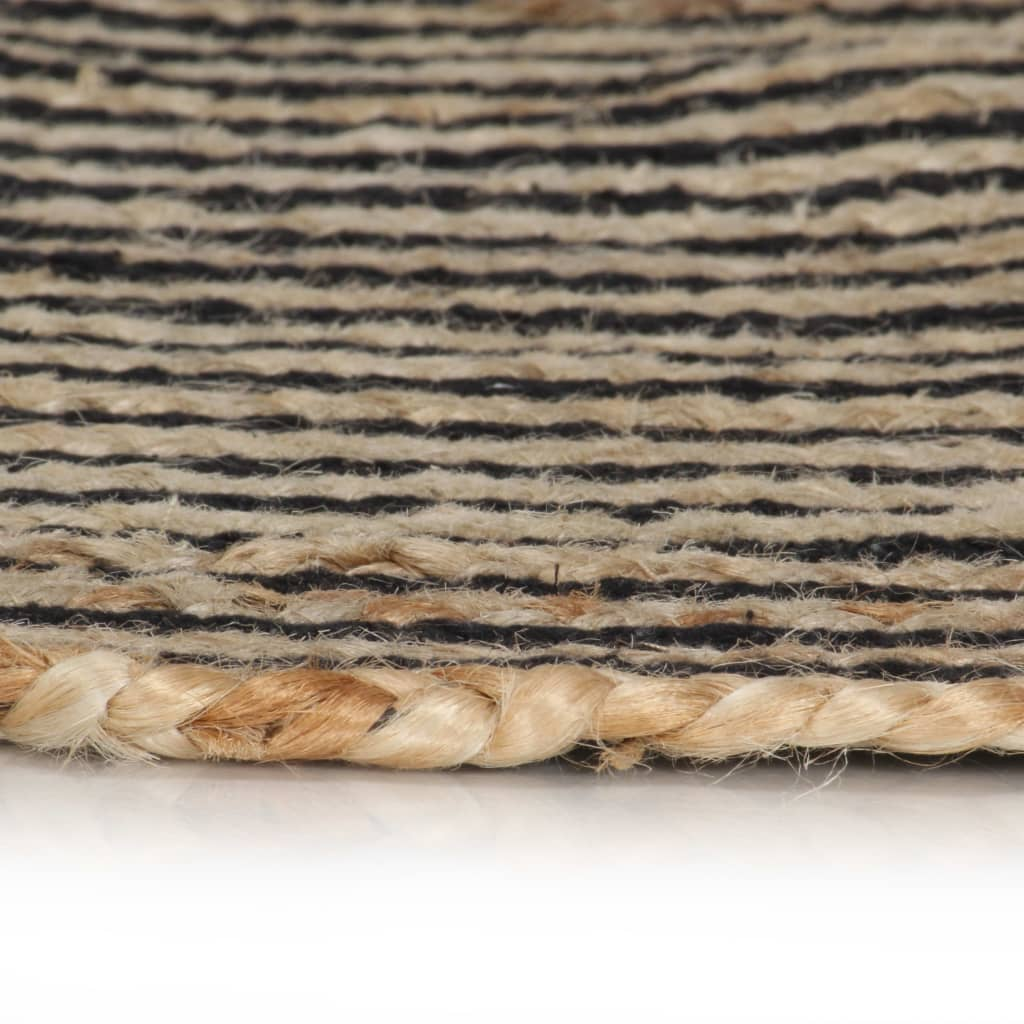 vidaXL Covor lucrat manual cu model spiralat, negru, 90 cm, iută