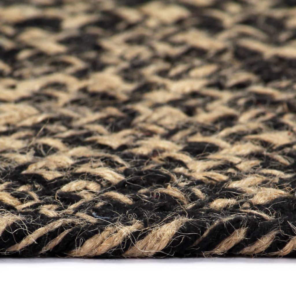 vidaXL Covor manual, negru și natural, 90 cm, iută