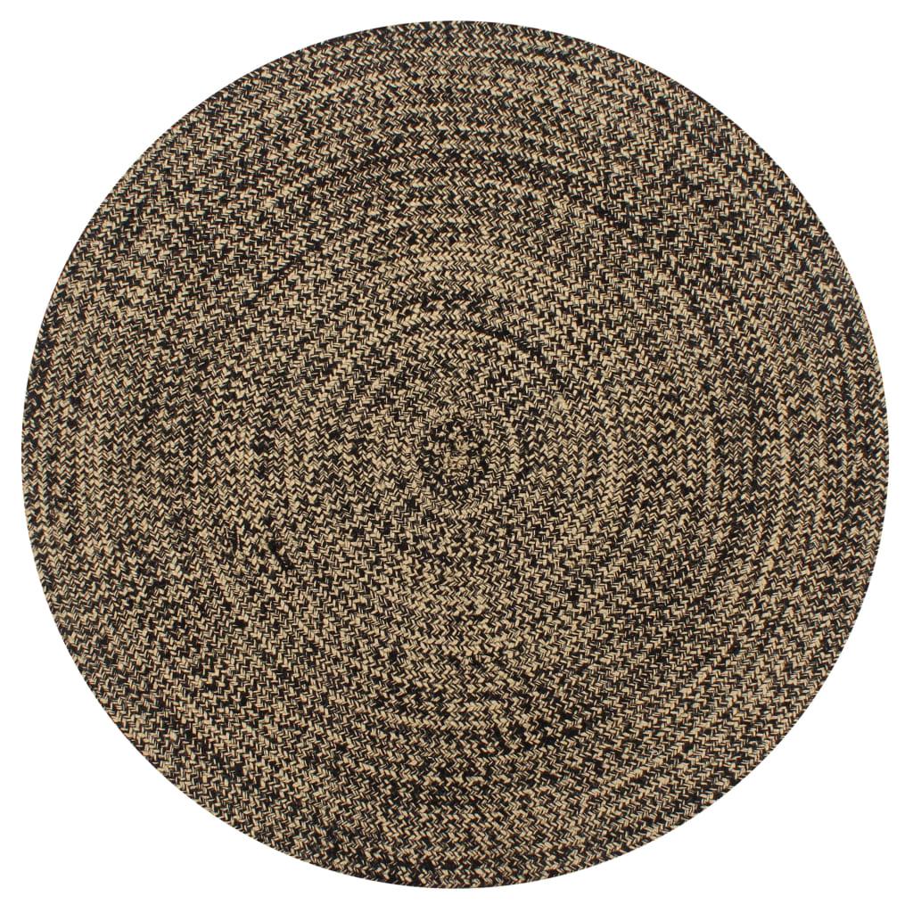 vidaXL Covor manual, negru și natural, 150 cm, iută
