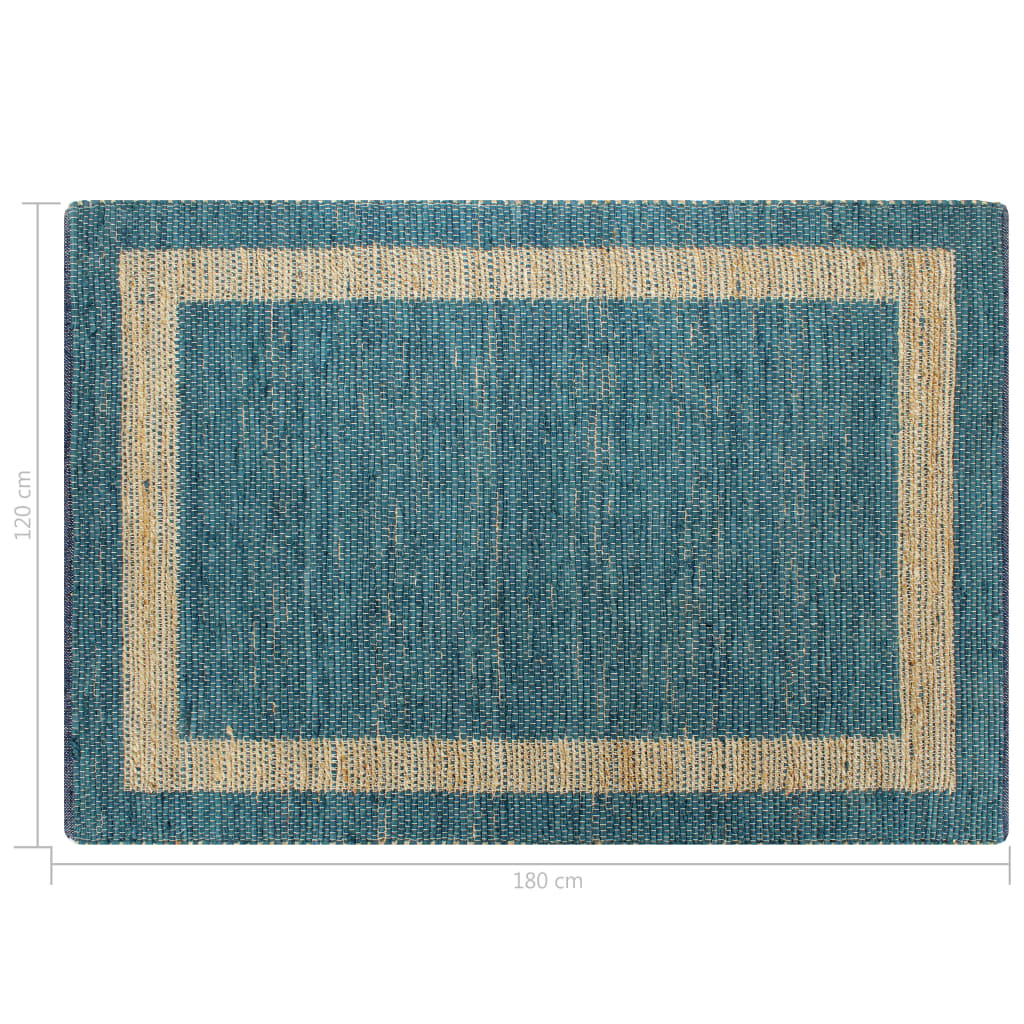 Covor manual, albastru, 120 x 180 cm, iută