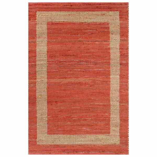 vidaXL Covor manual, roșu, 80 x 160 cm, iută