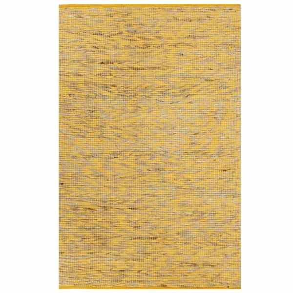 vidaXL Covor manual, galben și natural, 80 x 160 cm, iută