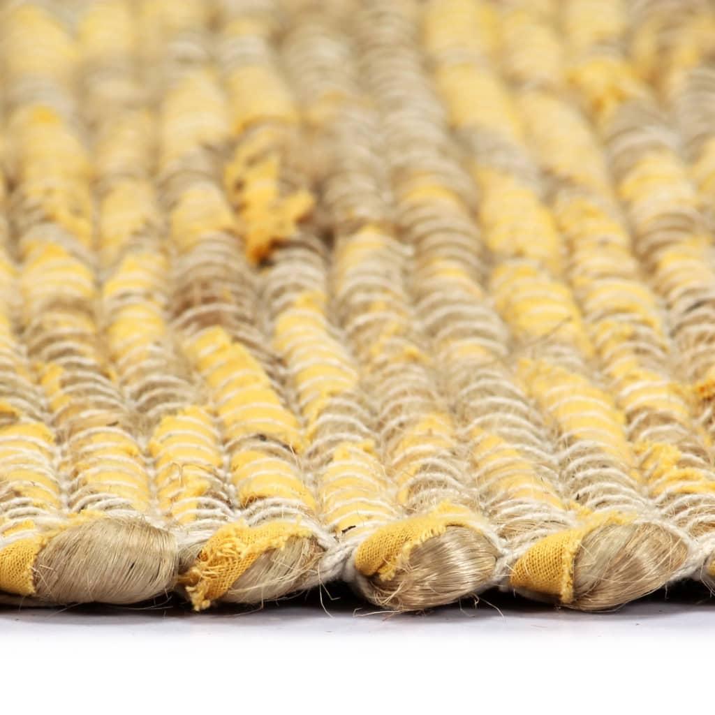 Covor manual, galben și natural, 160×230 cm, iută