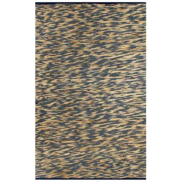 vidaXL Covor manual, albastru și natural, 80 x 160 cm, iută